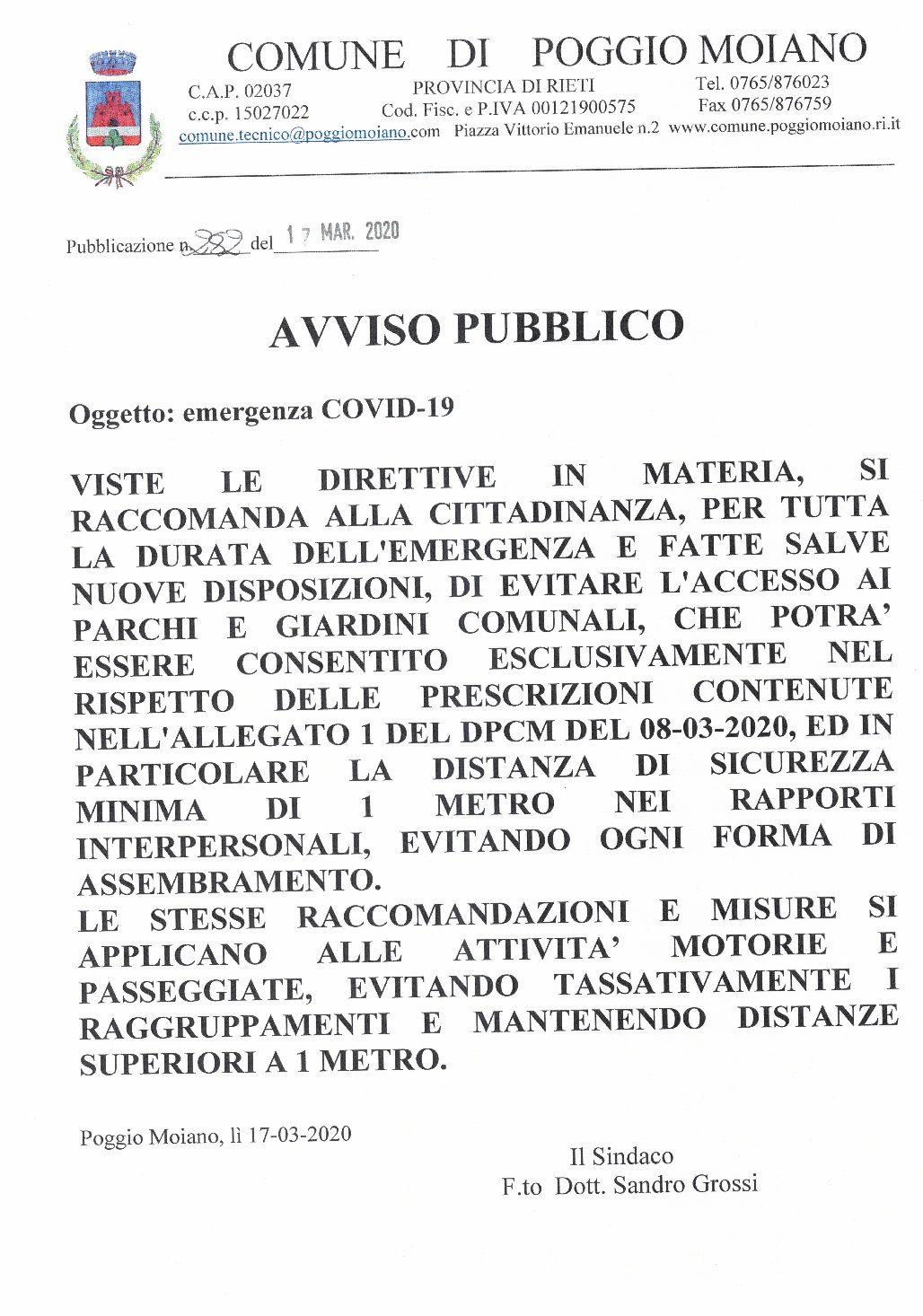CHIUSURA PARCHI E GIARDINI PUBBLICI