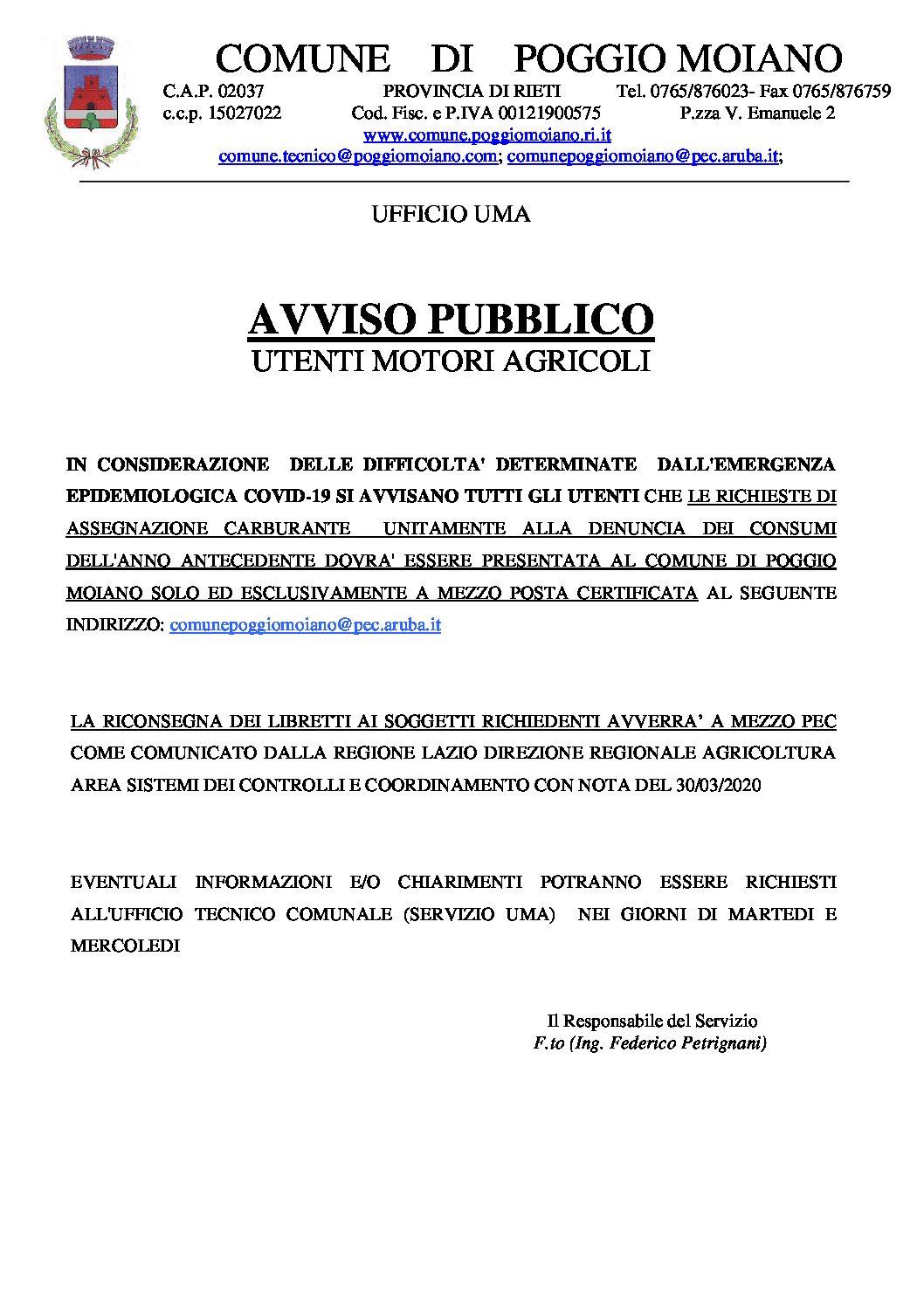 AVVISO PUBBLICO UTENTI UMA – MODALITA' RICHIESTE ASSEGNAZIONE CARBURANTE E RICONSEGNA LIBRETTI