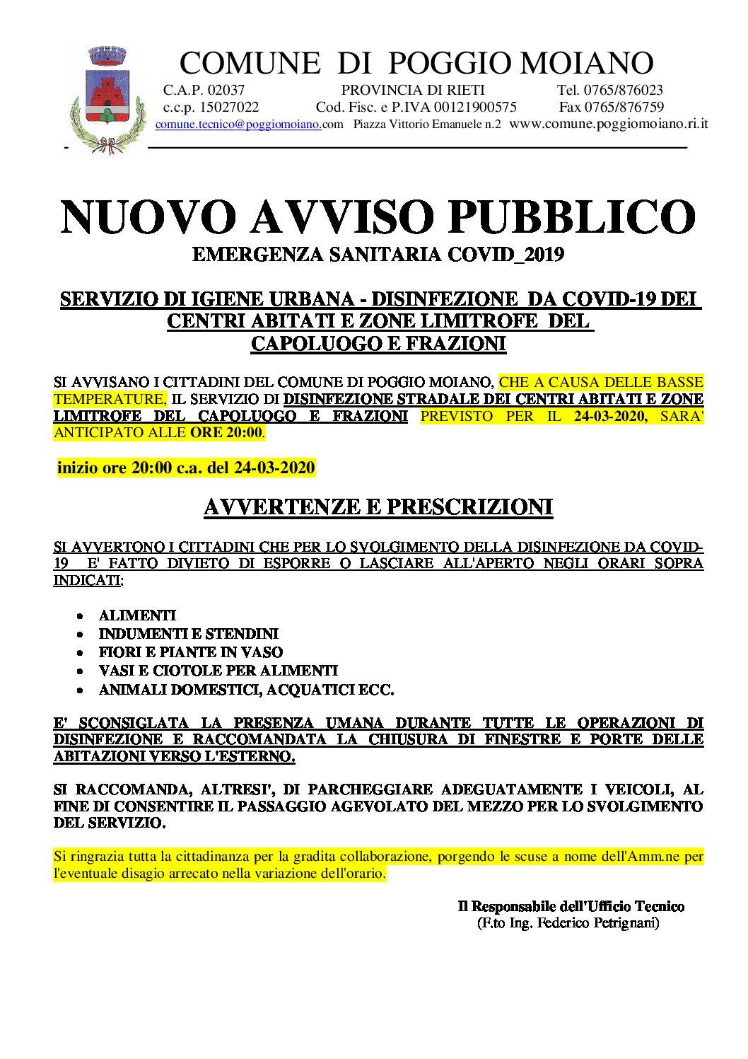 NUOVO AVVISO PUBBLICO SANIFICAZIONE STRADE