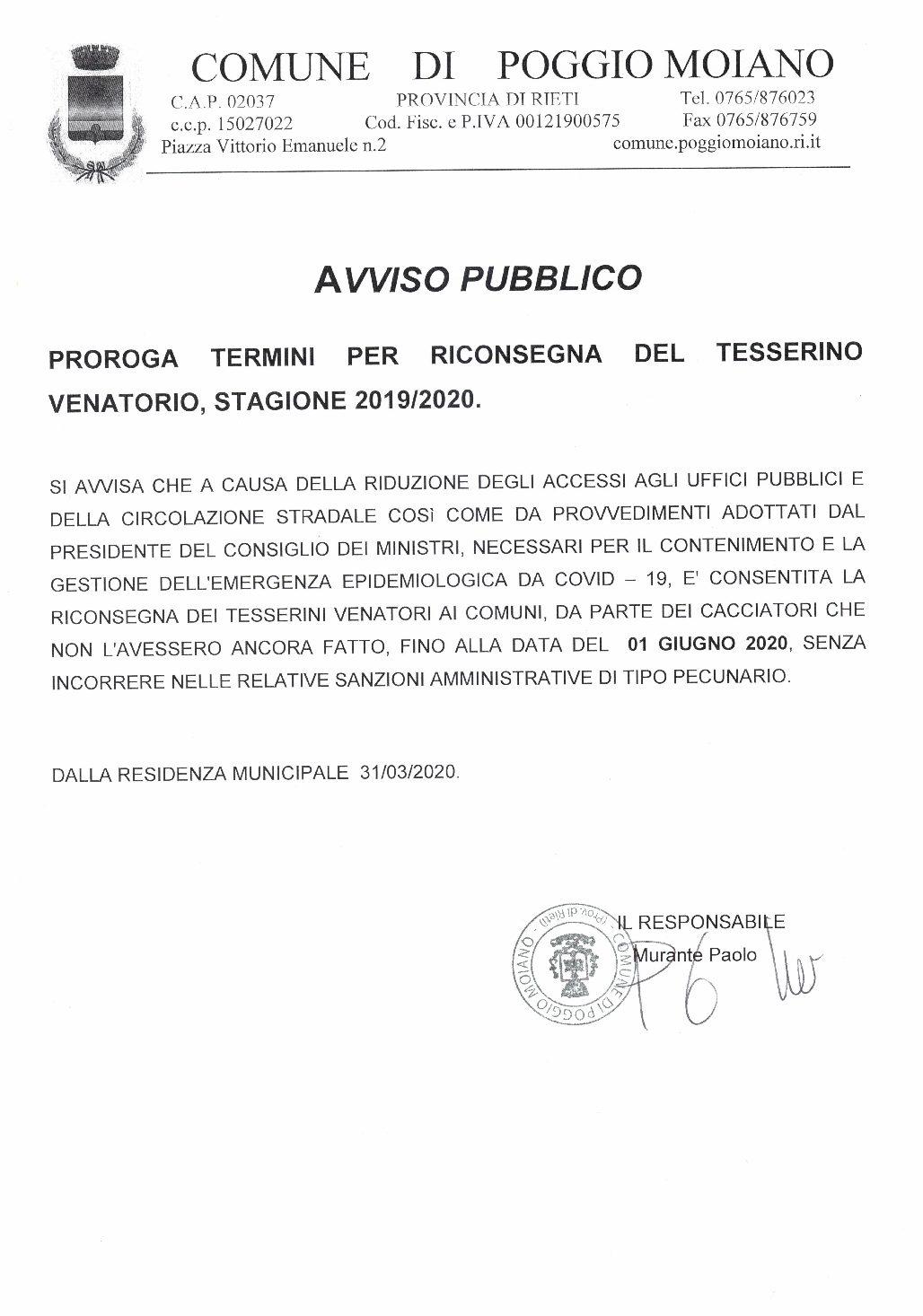 PROROGA TERMINI RICONSEGNA TESSERINO VENATORIO