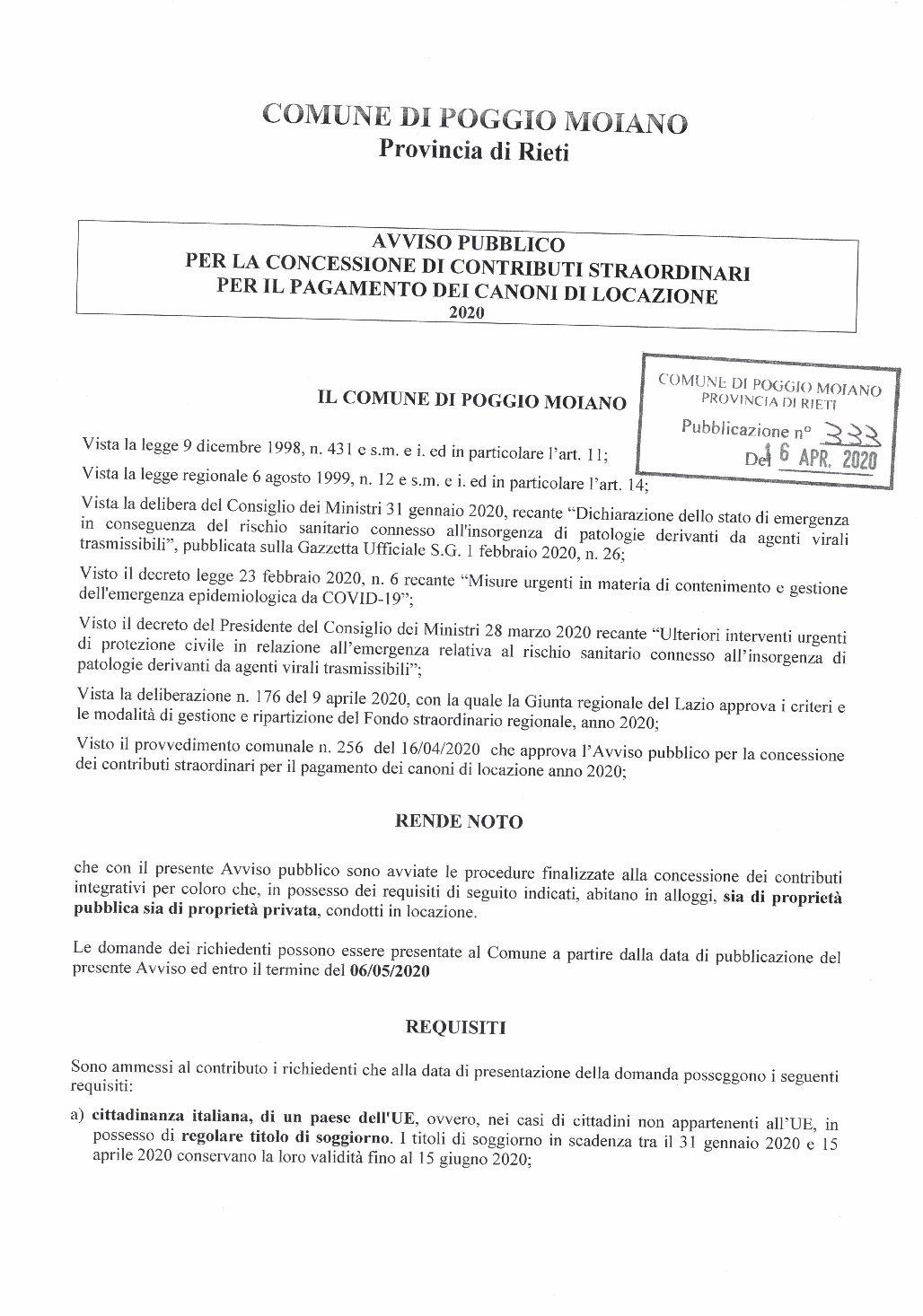 AVVISO E DOMANDA CONCESSIONE CONTRIBUTI STRAORDINARI CANONE LOCAZIONE
