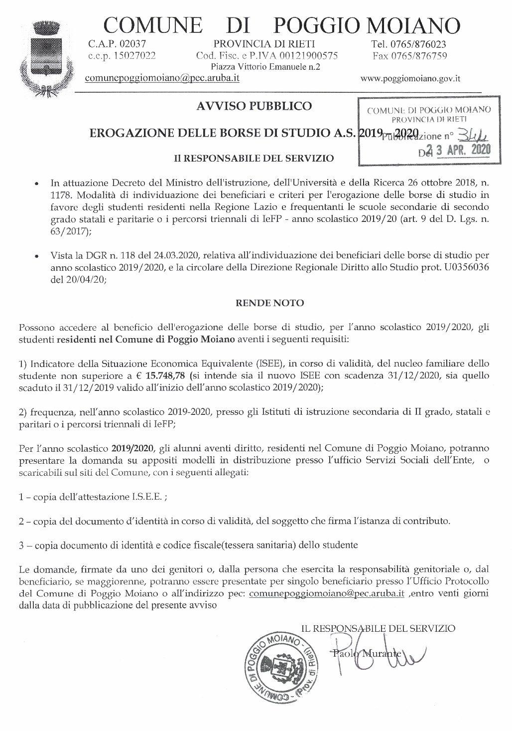 EROGAZIONE BORSE DI STUDIO LIBRI DI TESTO A.S. 2019/2020 SCADENZA 13.05.2020