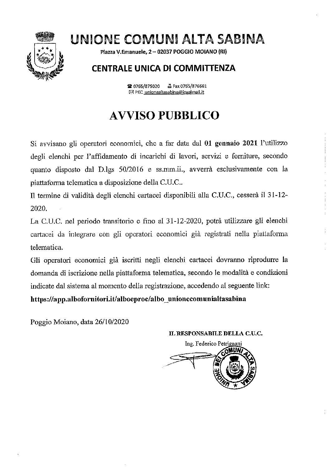 AVVISO CENTRALE UNICA DI COMMITTENZA