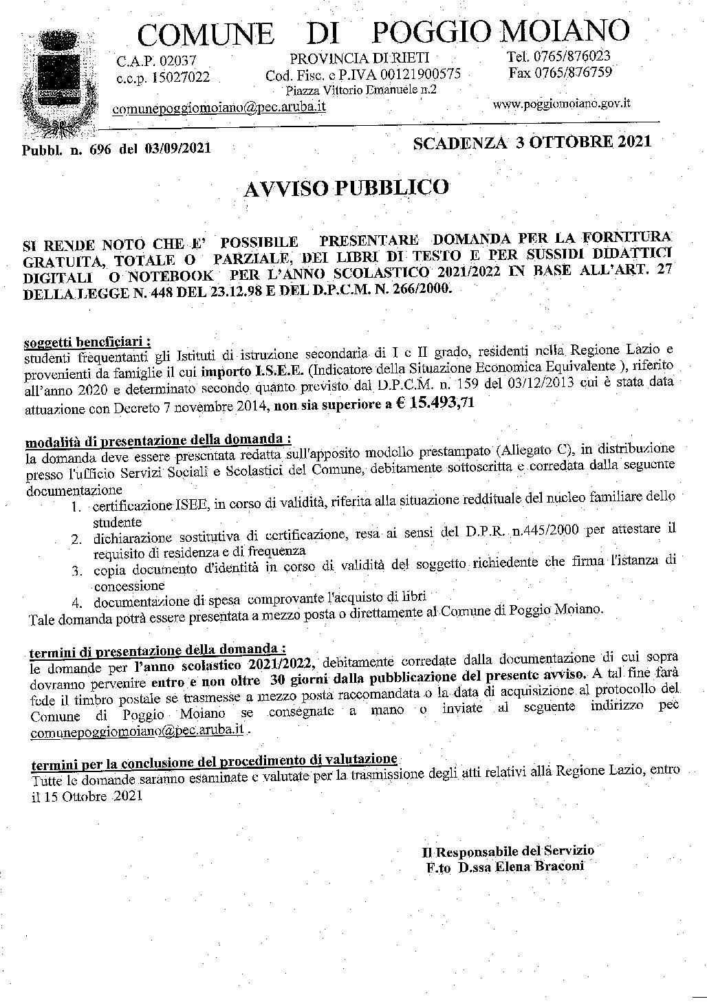 DOMANDA LIBRI DI TESTO 2021
